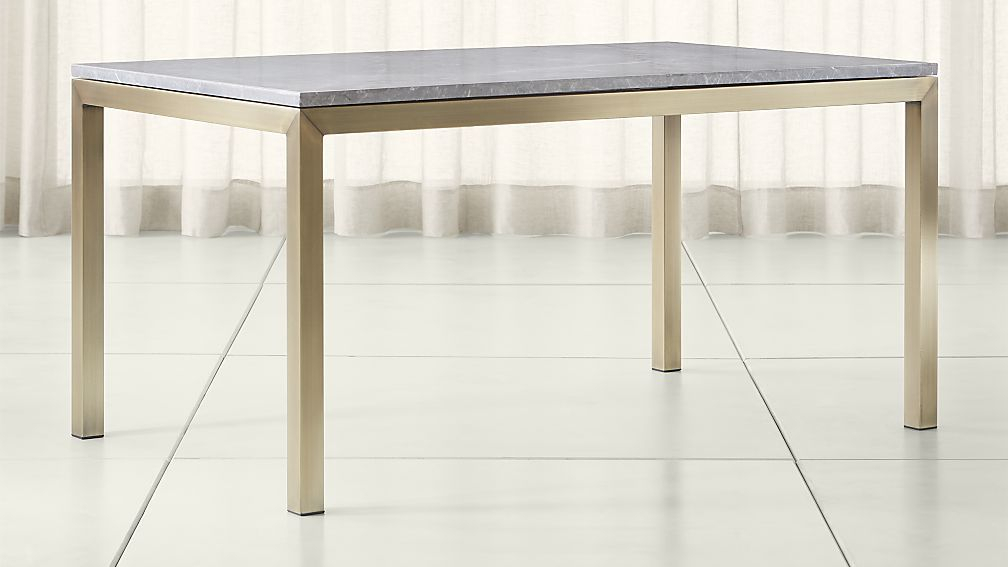 Fashionable Parsons Concrete Top & Brass Base 48X16 Console Tables In Parsons Grey Marble Top/ Brass Base Dining Tables (Image 13 of 25)