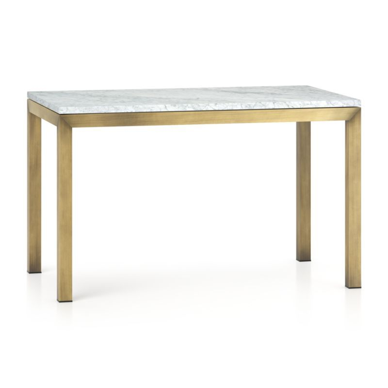 Fashionable Parsons White Marble Top & Dark Steel Base 48X16 Console Tables Inside Parsons White Marble Top/ Brass Base 48X28 Dining Table In  (Image 7 of 25)