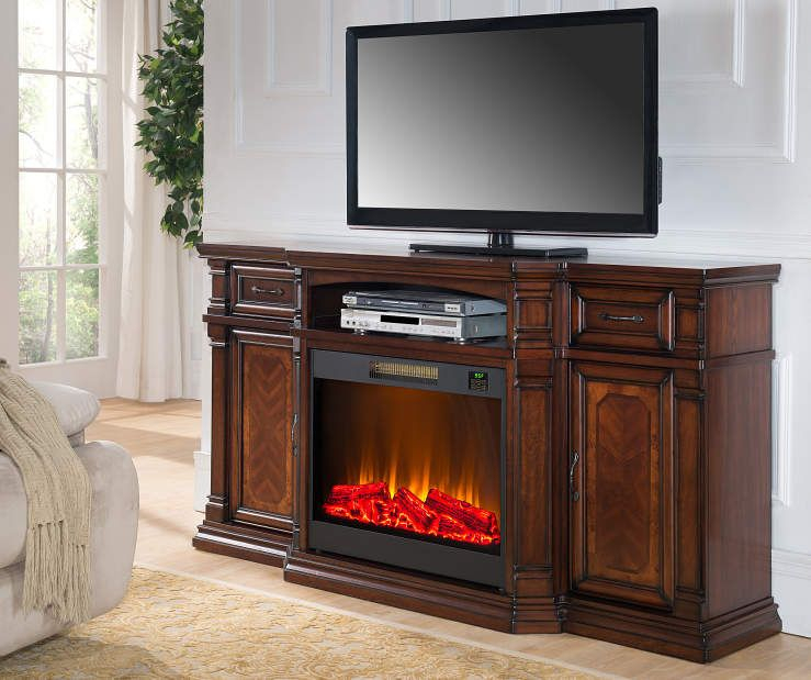 Fashionable Sinclair Blue 54 Inch Tv Stands Within 72 Inch Cherry Media Fireplace With Tv And Fireplace Lit Room View (View 2 of 25)