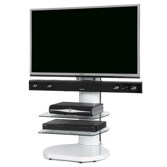 Fashionable White Cantilever Tv Stand For Off The Wall Origin S4 White Cantilever Tv Stand For Tv's Up To 55 Inch (Image 11 of 25)