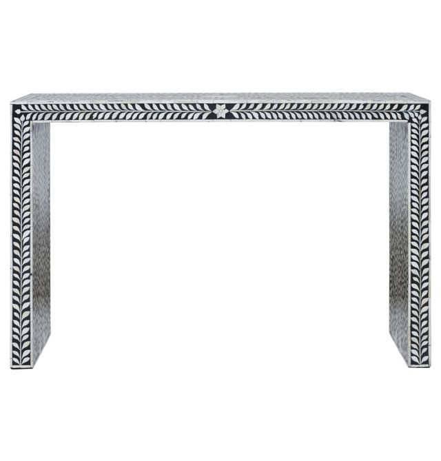 Favorite Black And White Inlay Console Tables Inside Tahari Bone Inlay Console Table (View 9 of 25)