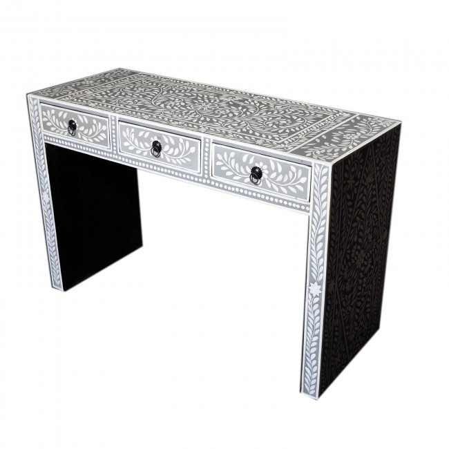 Favorite Black And White Inlay Console Tables With Bone Inlay Grey Floral Console Table (Image 17 of 25)
