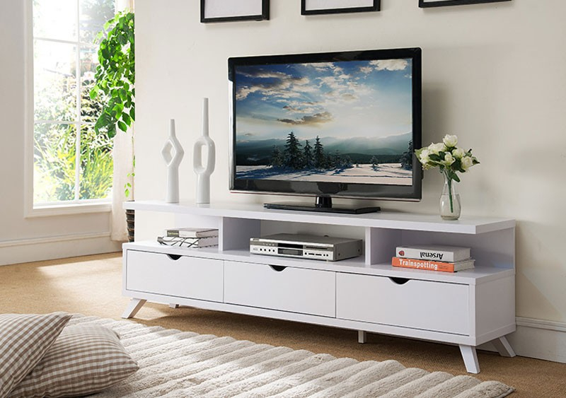 Favorite Cheap White Tv Stands For Lanie Modern White Tv Stand (Image 8 of 25)