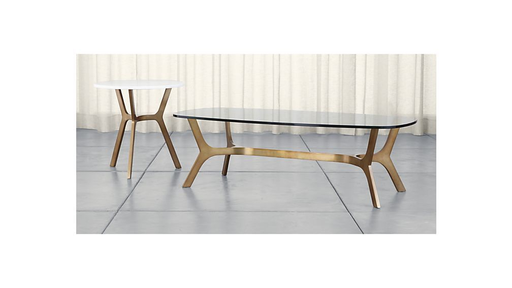 Favorite Elke Glass Console Tables With Polished Aluminum Base Regarding Elke Rectangular Glass Coffee Table With Brass Base (Image 9 of 25)