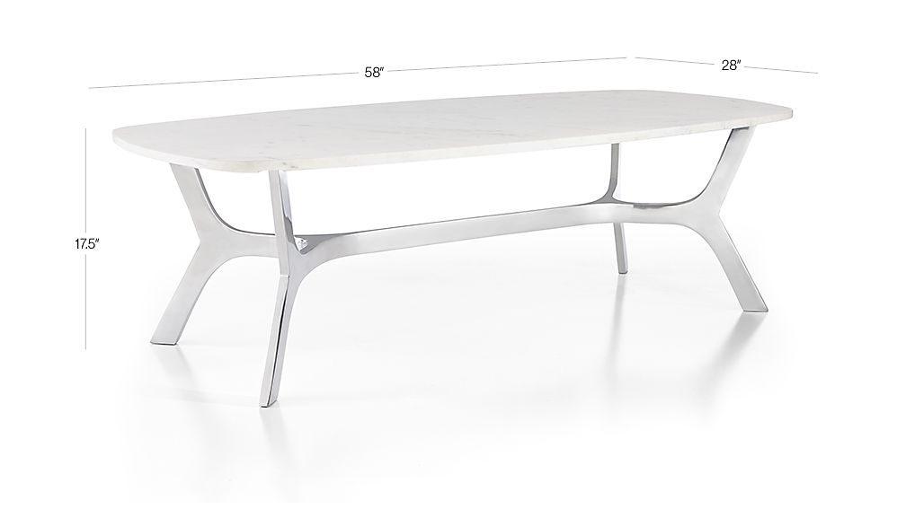 Favorite Elke Marble Console Tables With Polished Aluminum Base Inside Elke Rectangular Marble Coffee Table With Polished Aluminum Base + (Image 16 of 25)