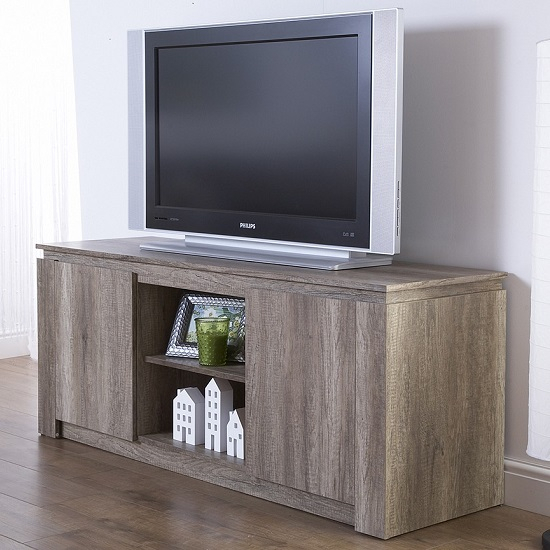 Favorite Oak Tv Cabinet With Doors Throughout Caister Wooden Lcd Tv Stand In Oak With 2 Doors  (Image 10 of 25)