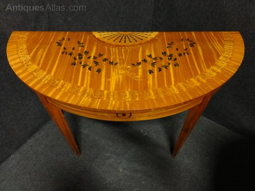 Favorite Orange Inlay Console Tables Regarding Pair Satinwood Inlaid Console Tables – Antiques Atlas (Image 7 of 25)