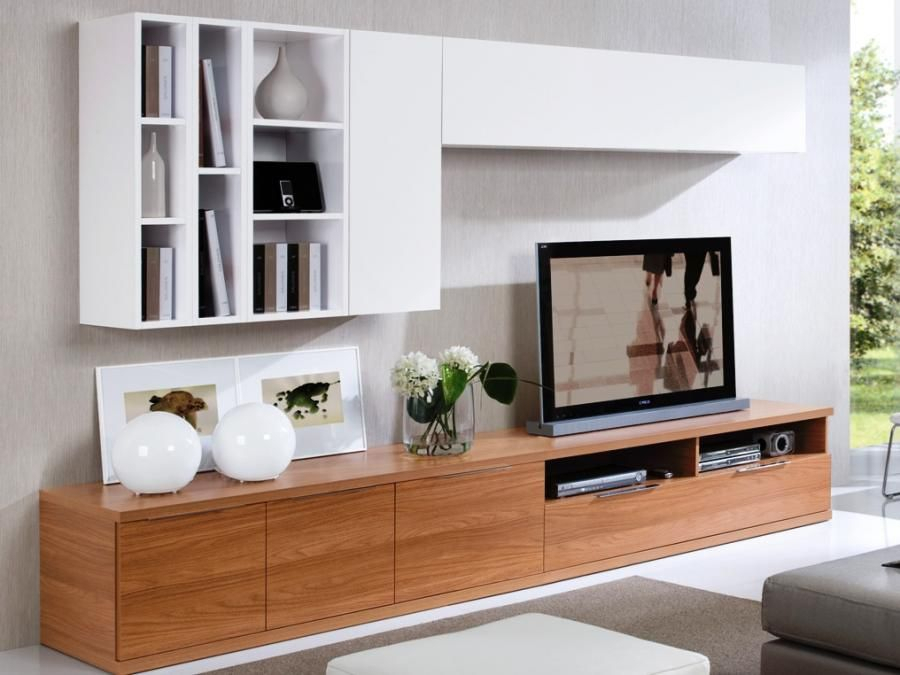 Favorite Tv Wall Cabinets Within Low Walnut Tv Unit With 2 White Wall Cabinets And Display Areas (Image 7 of 25)