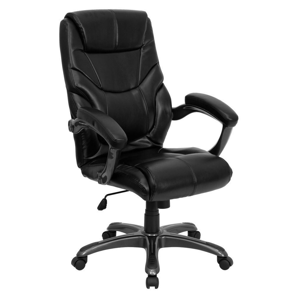 Flash Furniture High Back Black Leather Overstuffed Executive Swivel Throughout Leather Black Swivel Chairs (View 15 of 25)