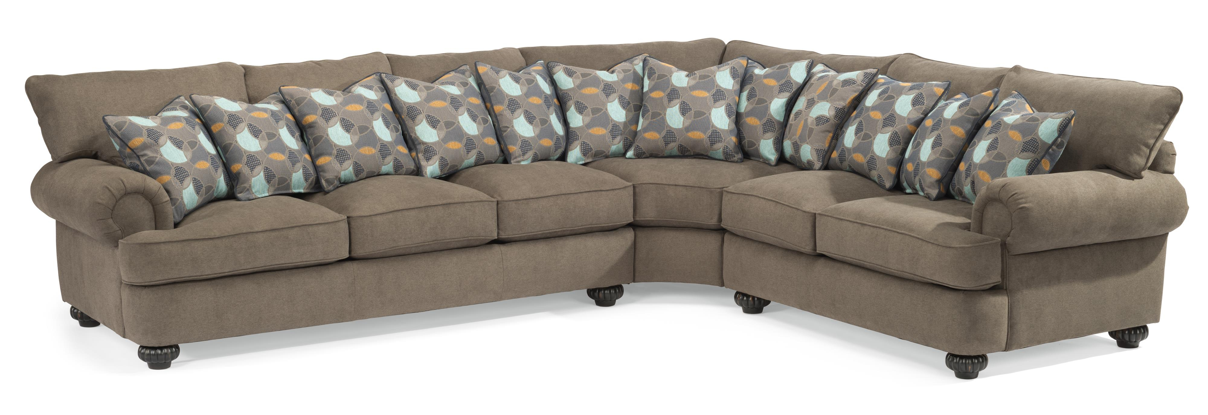 Flexsteel Patterson Three Piece Sectional Sofa With Rolled Arms Within Patterson Ii Arm Sofa Chairs (Image 5 of 25)