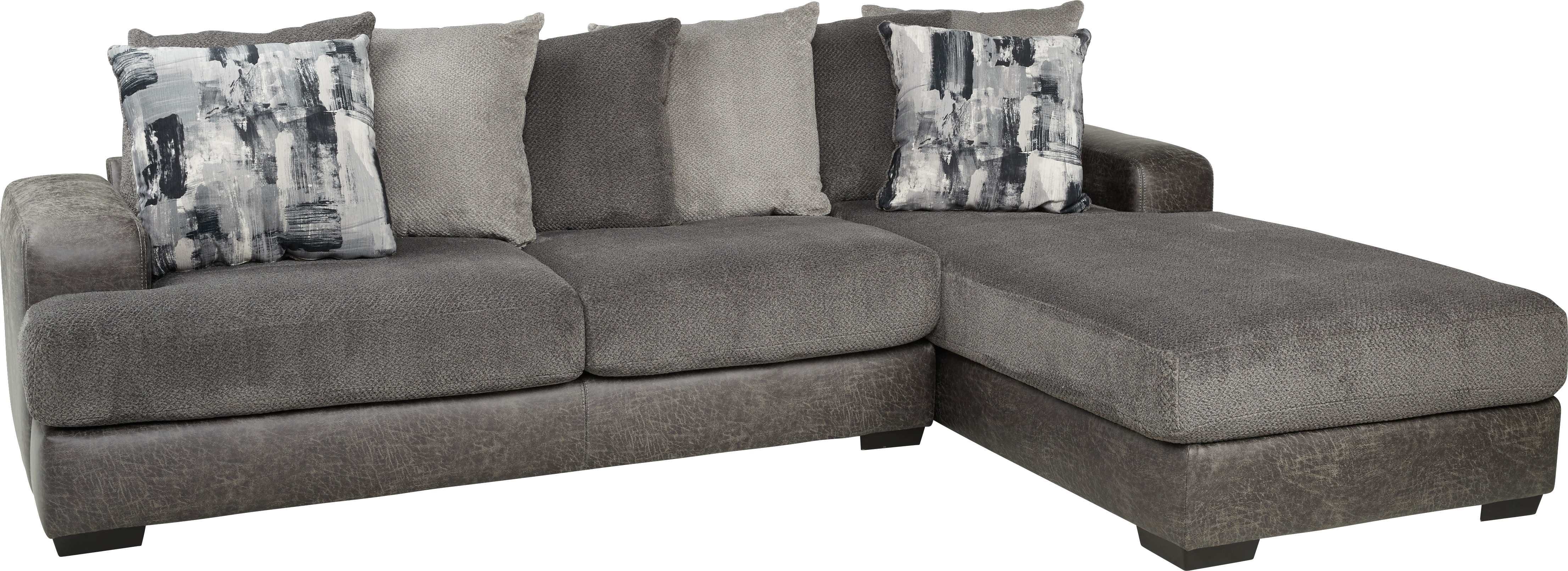 Foster Square Graphite 2 Pc Sectional – Living Room Sets (Gray) Pertaining To Mcdade Graphite Sofa Chairs (Image 4 of 25)