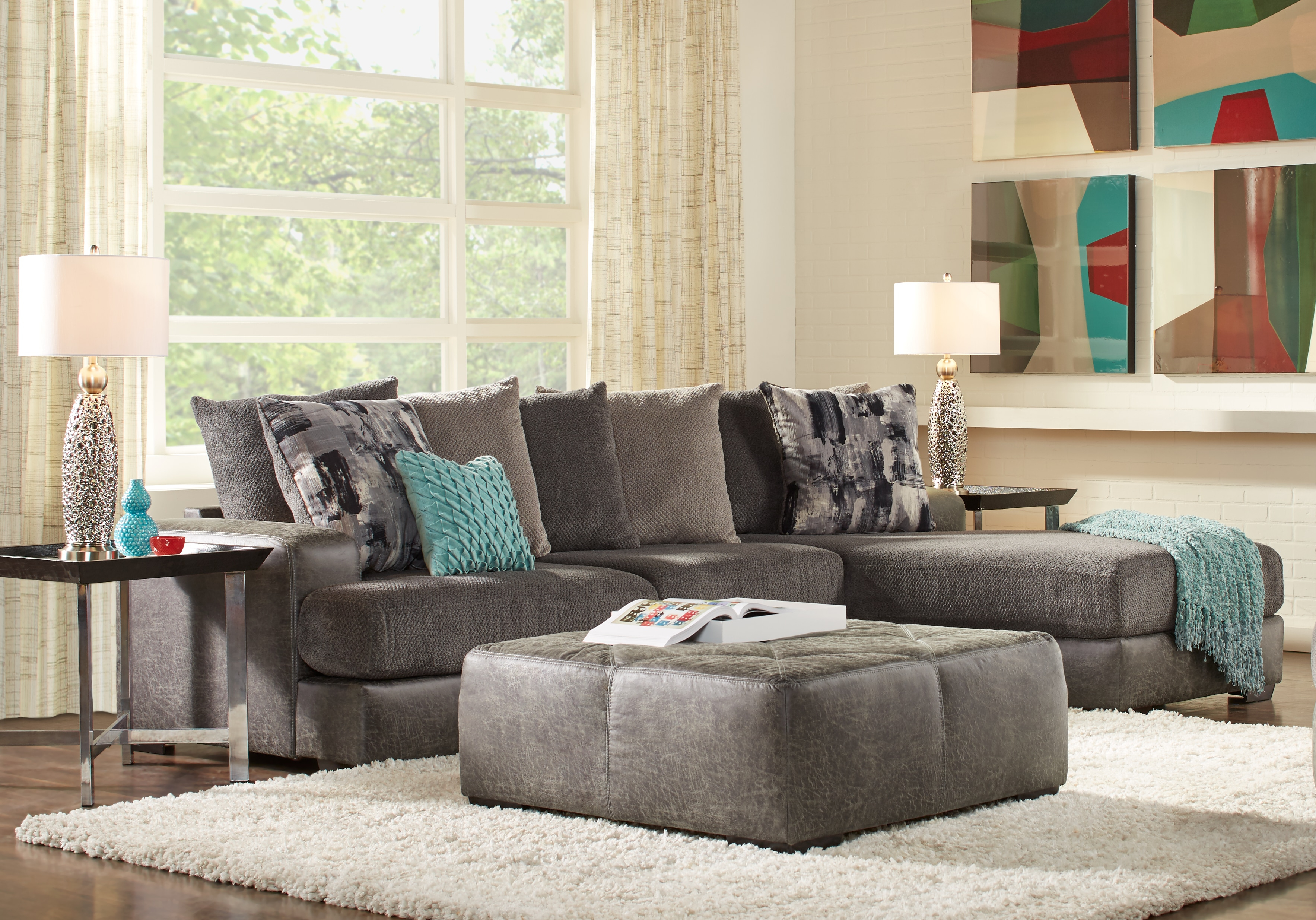 Foster Square Graphite 2 Pc Sectional – Living Room Sets (Gray) With Regard To Mcdade Graphite Sofa Chairs (Image 5 of 25)