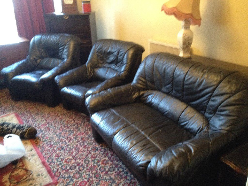 Free***black Leather Sofa & 2 Arm Chairs | In Ipplepen, Devon | Gumtree Intended For Devon Ii Arm Sofa Chairs (Image 13 of 25)