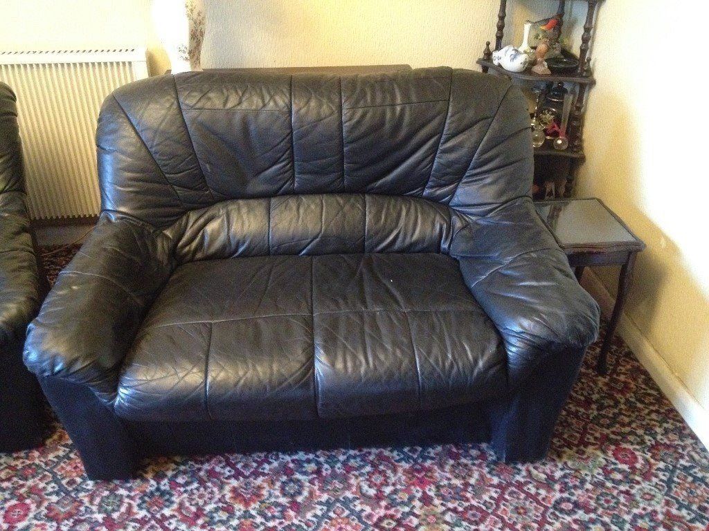 Free***black Leather Sofa & 2 Arm Chairs | In Ipplepen, Devon | Gumtree Within Devon Ii Arm Sofa Chairs (View 11 of 25)