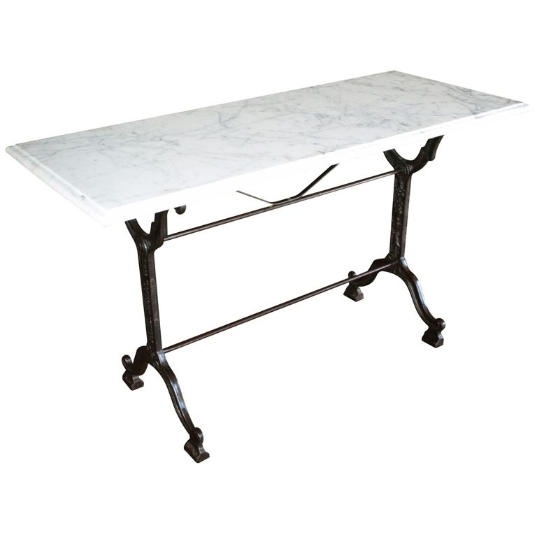 French Bistro Console Table With Cast Iron Base And Marble Top With Regard To Most Recently Released Mix Patina Metal Frame Console Tables (View 7 of 25)