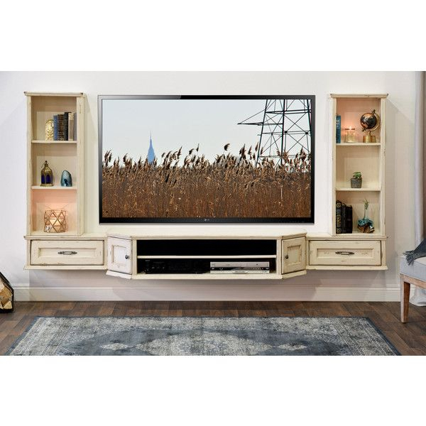 French Floating Entertainment Center Distressed Tv Stand Vintage 3 With Regard To Famous Vista 68 Inch Tv Stands (Image 5 of 25)