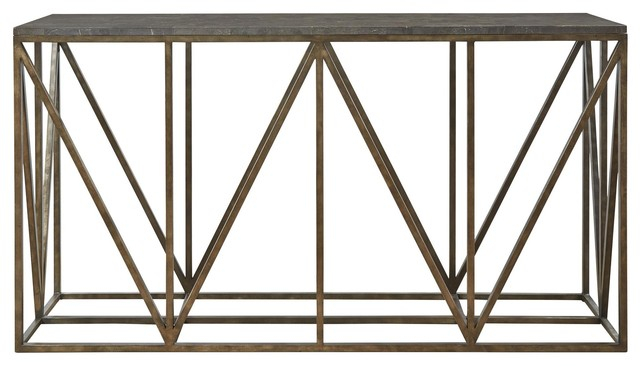 French Industrial Bronze Metal Bluestone Console Table – Industrial Regarding Well Known Bluestone Console Tables (View 11 of 25)