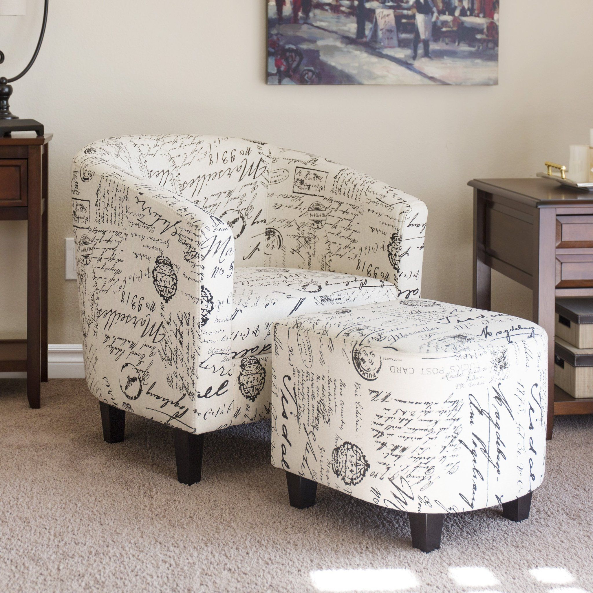 French Print Barrel Accent Chair W/ Ottoman – White – Best Choice Regarding Twirl Swivel Accent Chairs (Image 7 of 25)