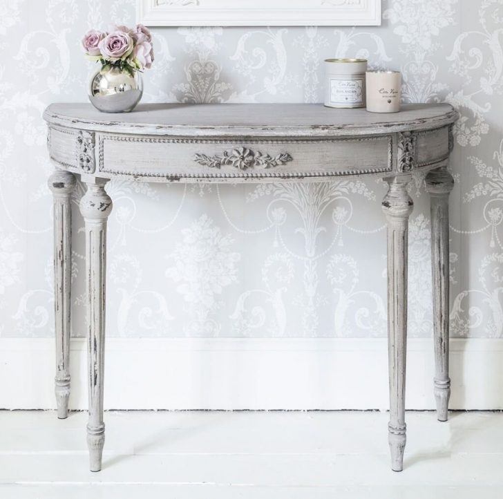 Furniture: Antique Distressed White Half Moon Console Table For With Regard To Preferred Antique White Distressed Console Tables (Image 9 of 25)