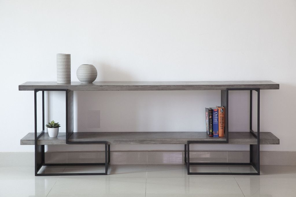 Furniture, Concrete, Concrete With Best And Newest Parsons Grey Solid Surface Top & Brass Base 48X16 Console Tables (Image 11 of 25)