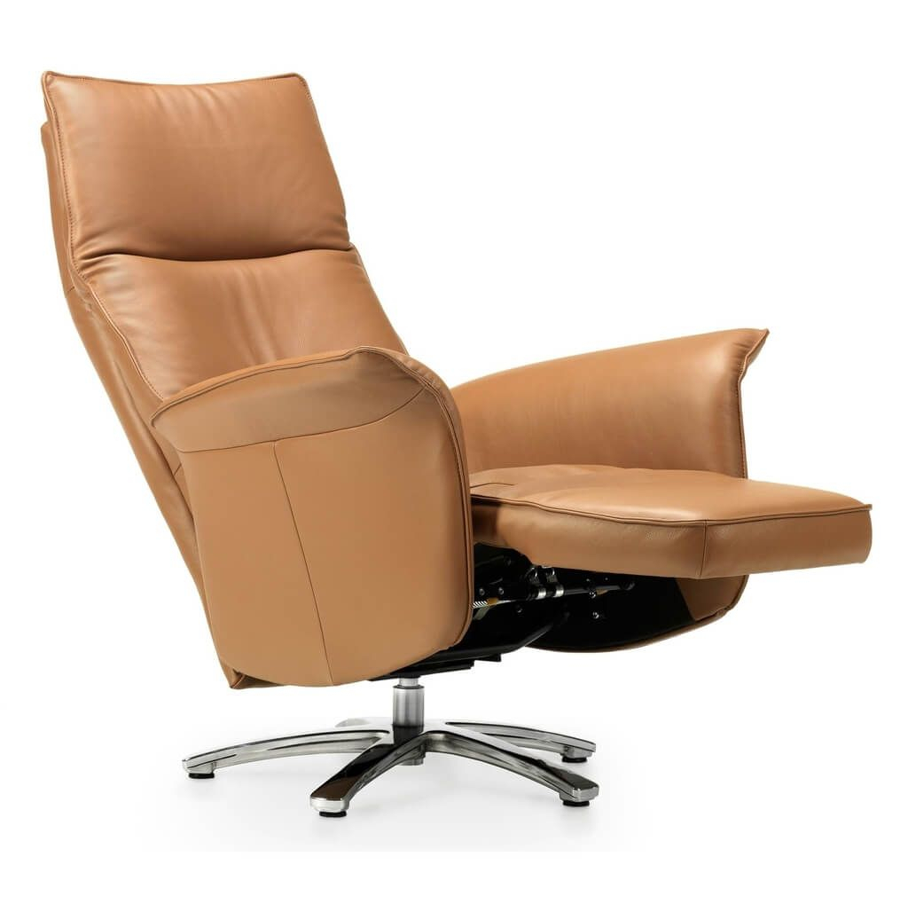 Furniture: Cool Beige Swivel Recliner Chair With Solid Wood Base Inside Espresso Leather Swivel Chairs (Image 16 of 25)