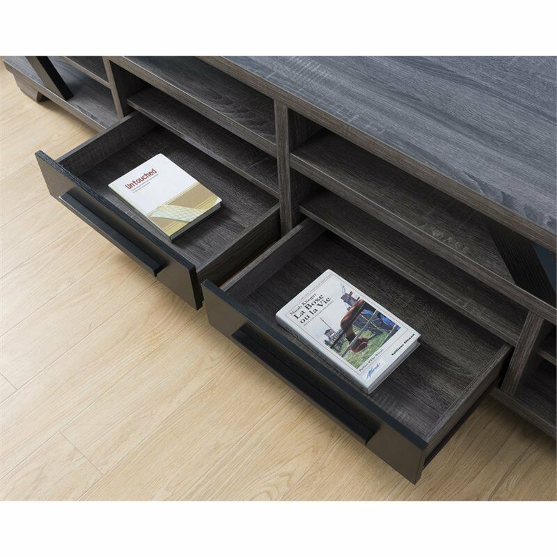 "Furniture Of America Dixon 82"" Tv Stand In Gray And Black (Image 6 of 25)"