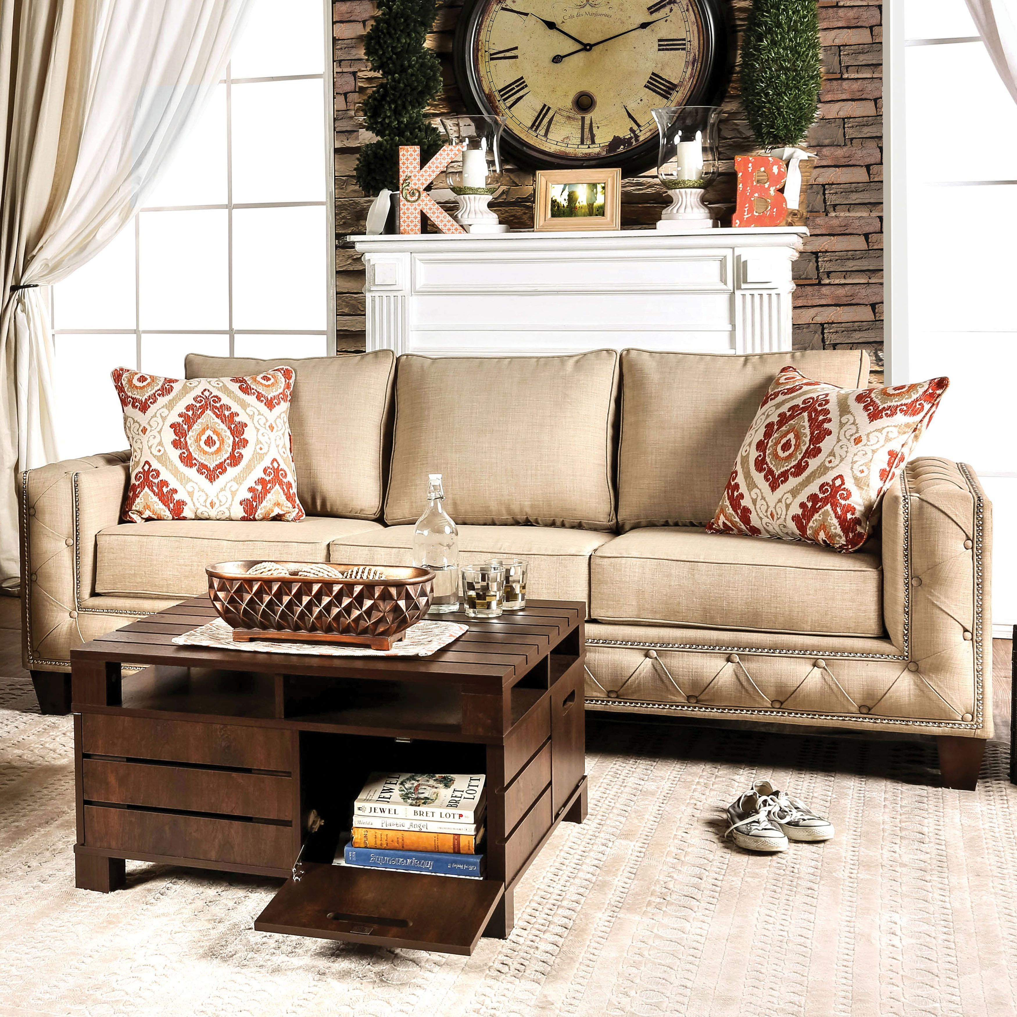 Furniture Of America Gina Modern Beige Fabric Track Arm Sofa (Beige With Regard To Gina Blue Leather Sofa Chairs (Image 11 of 25)