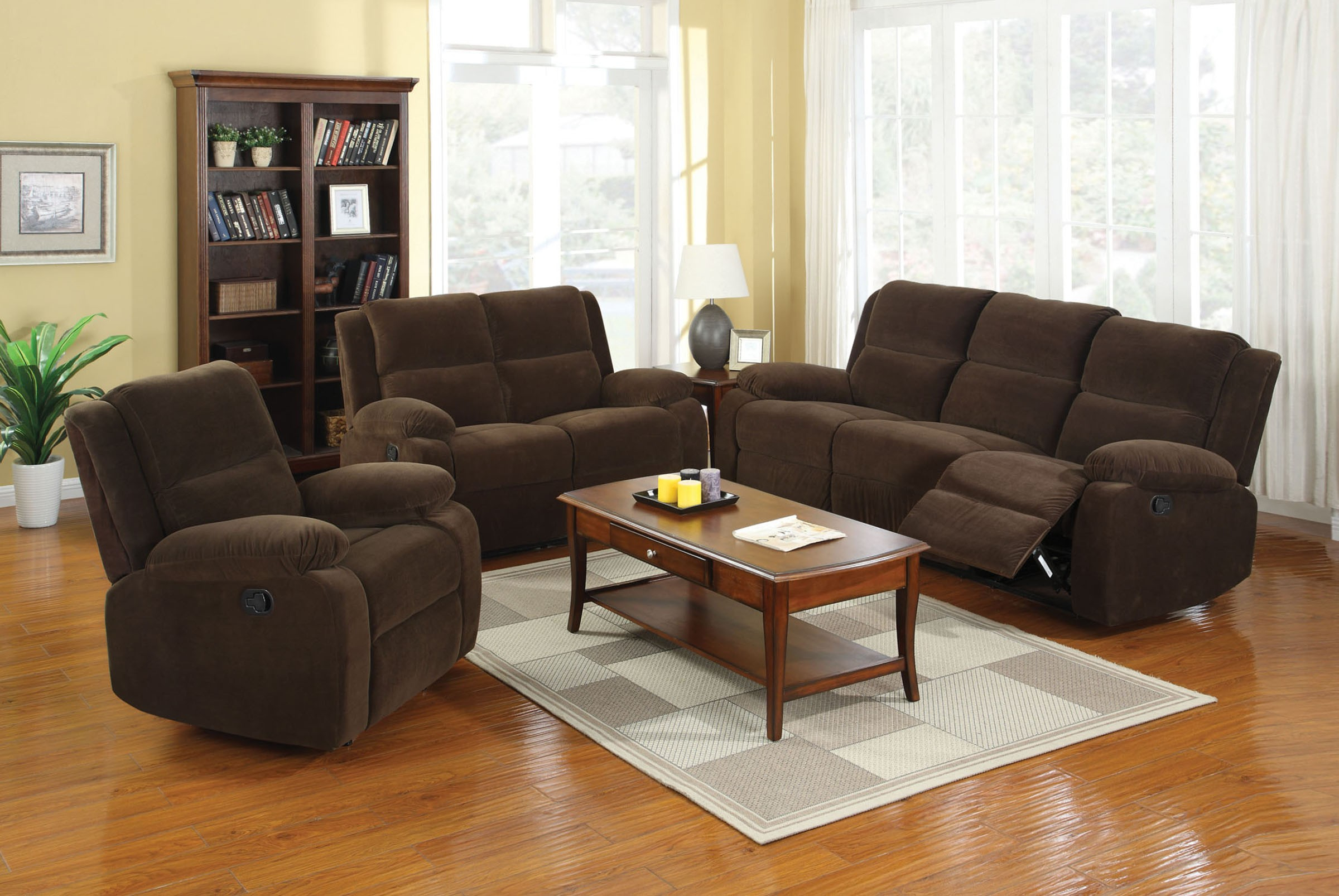 Furniture Of America Haven Living Room Set In Dark Brown | Local In Haven Sofa Chairs (View 23 of 25)