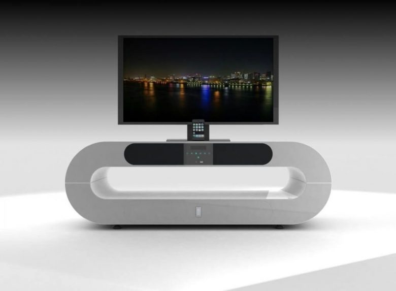 Furniture: Sleek Piece Of Silver Modern Tv Stands Creative Oval For Well Liked Oval White Tv Stand (Image 4 of 25)