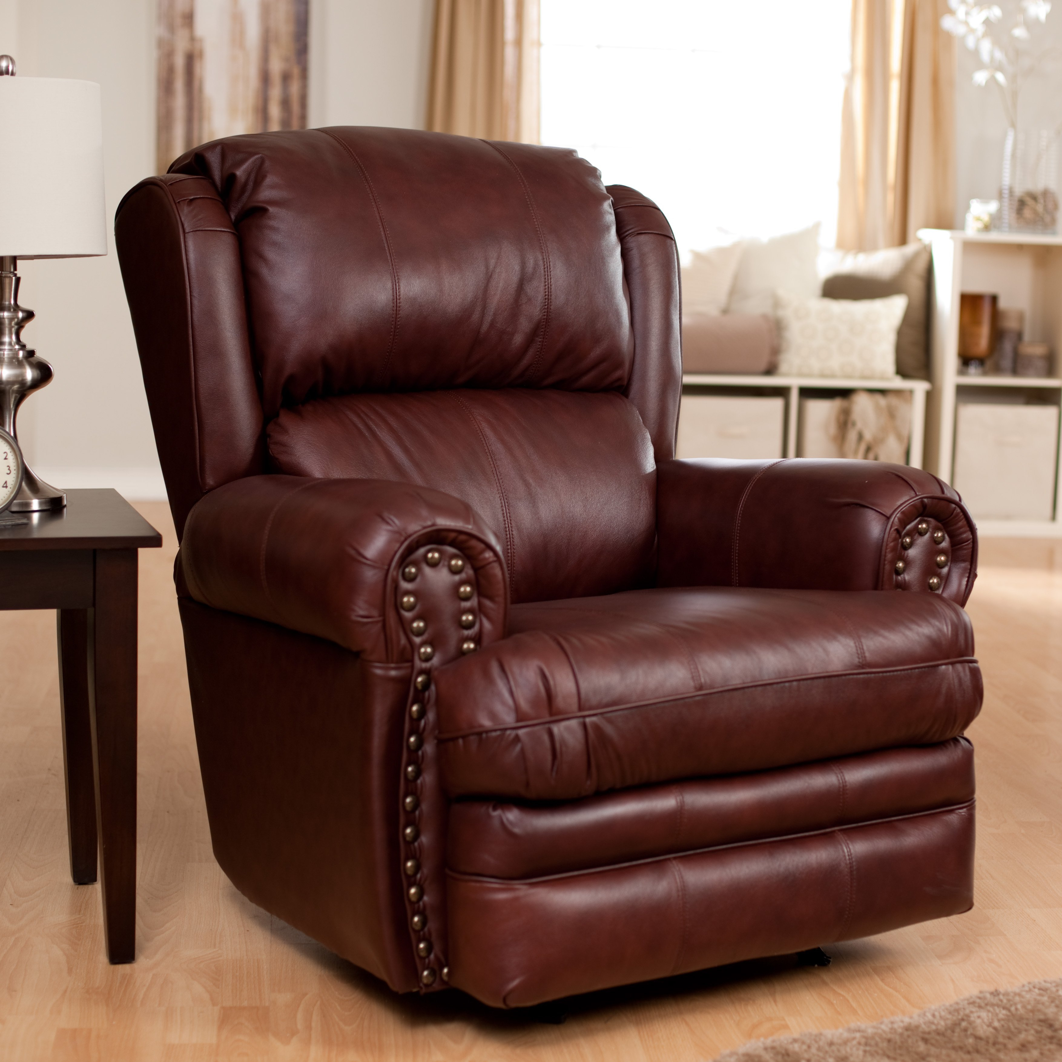 Furniture: Surprising Simmons Recliners For Contemporary Living Room Inside Rogan Leather Cafe Latte Swivel Glider Recliners (Image 8 of 25)
