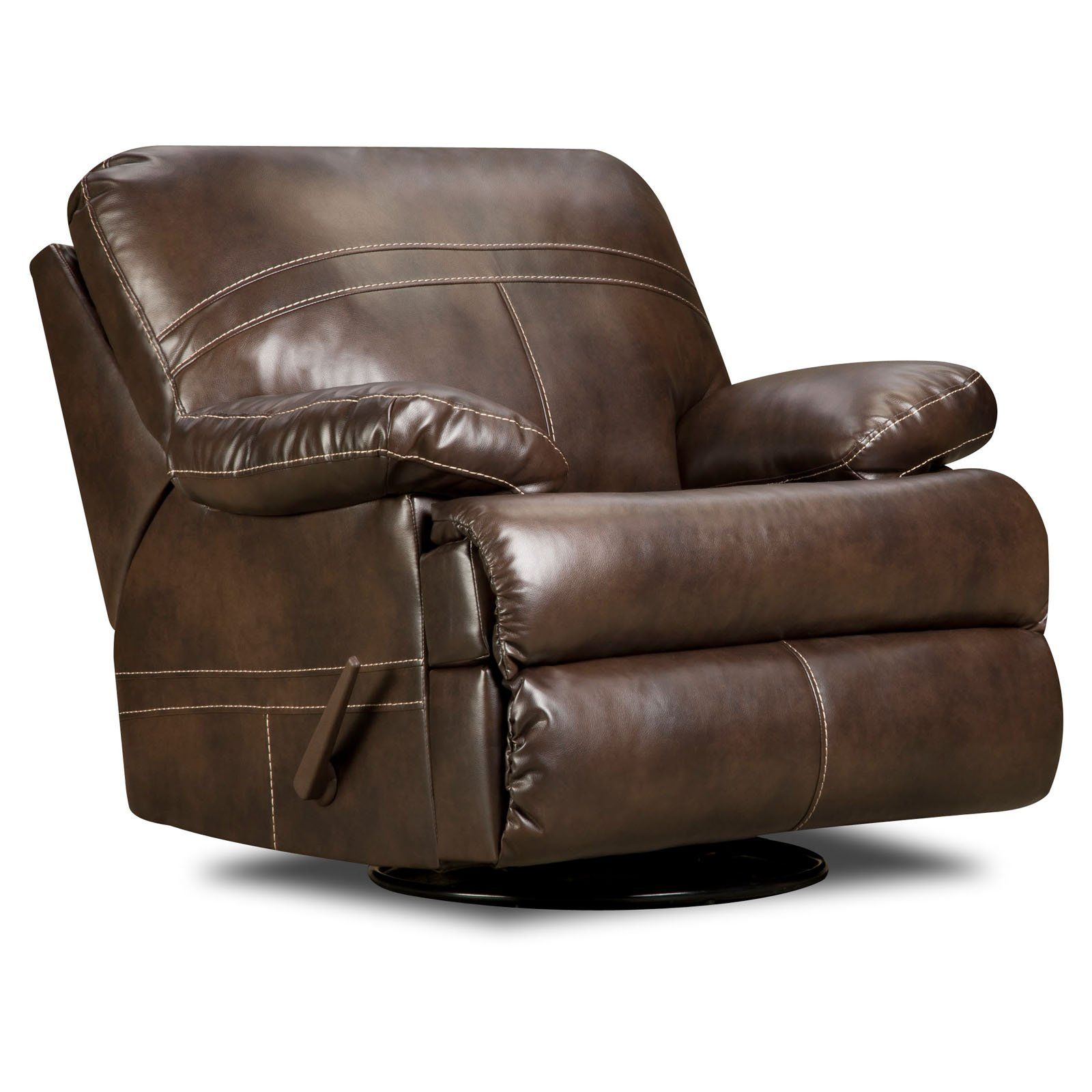 Furniture: Surprising Simmons Recliners For Contemporary Living Room Regarding Rogan Leather Cafe Latte Swivel Glider Recliners (Image 10 of 25)