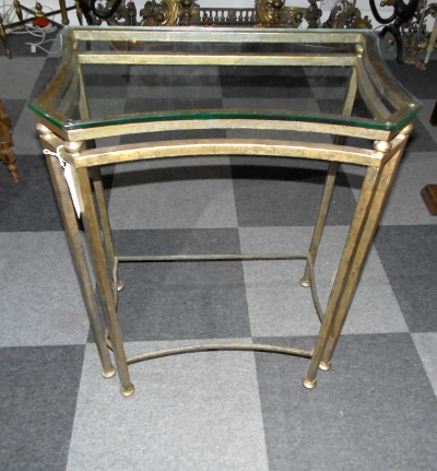 Gilt Metal Console Table With Glass Top – Marshall Phillips Ltd Regarding Most Current Phillip Brass Console Tables (Image 7 of 25)