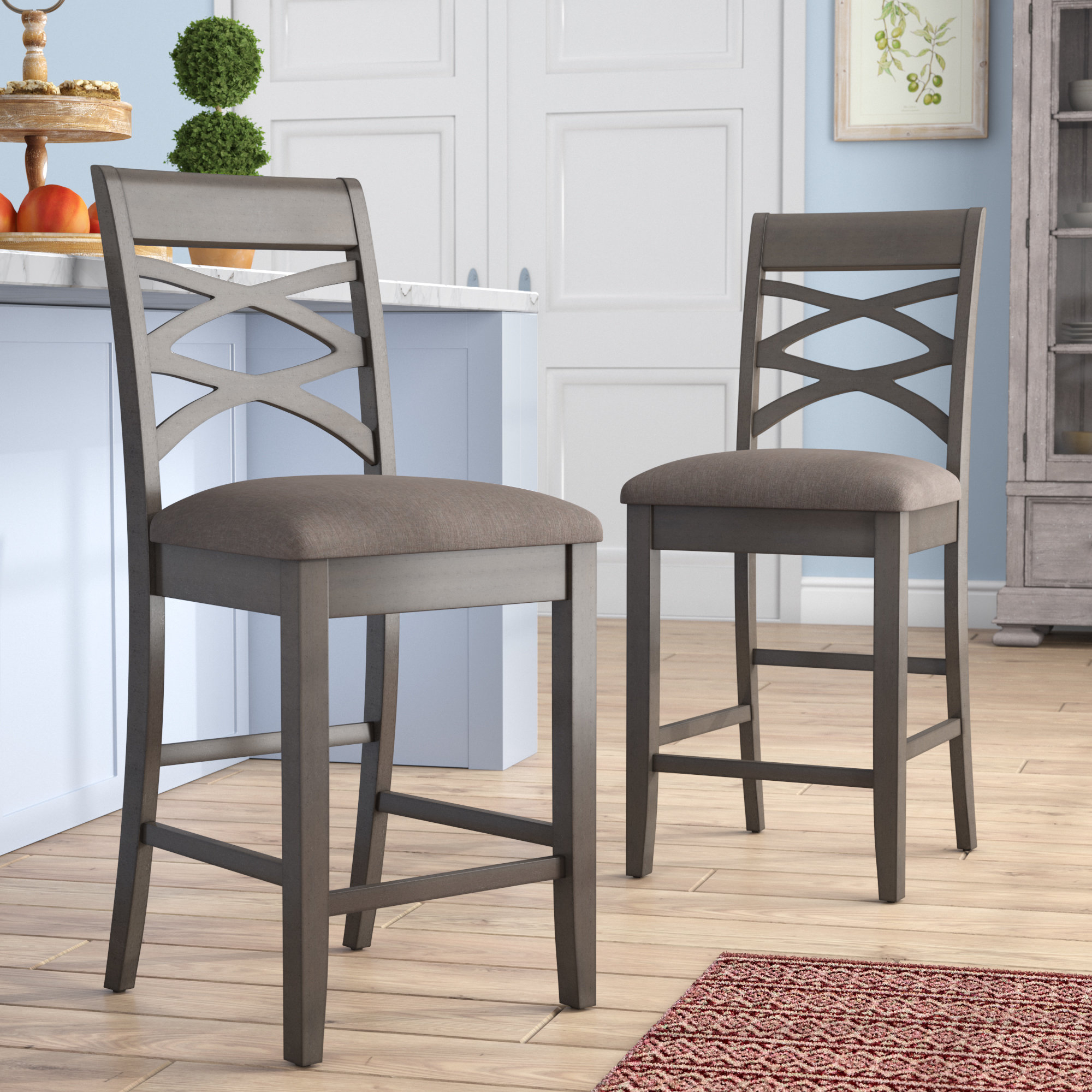 "Gracie Oaks Jeanine Wood Double Cross Back 24"" Bar Stool & Reviews Within Bailey Angled Track Arm Swivel Gliders (Photo 17 of 25)"
