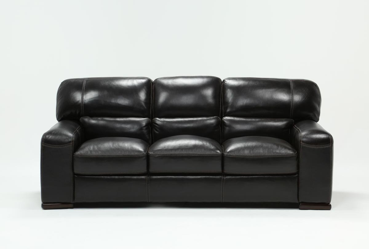 Grandin Leather Sofa | Living Spaces Intended For Cosette Leather Sofa Chairs (Image 18 of 25)