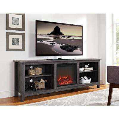 Gray – Electric Fireplaces – Fireplaces – The Home Depot Pertaining To Popular Kenzie 60 Inch Open Display Tv Stands (Image 4 of 25)