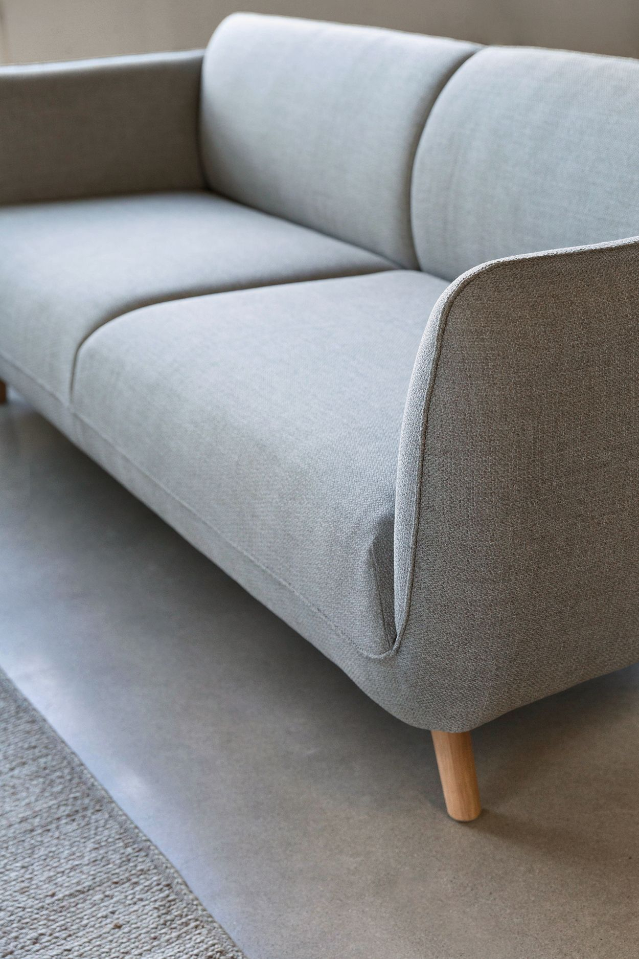 Gray Fabric Sofa, 3 Seat, Solid Wood Legs | Article Haro Modern Throughout Grace Sofa Chairs (View 20 of 25)