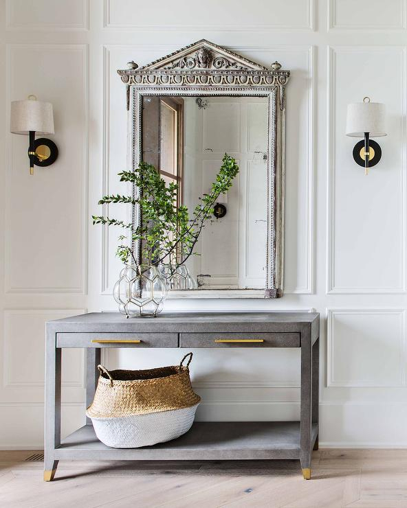 Gray French Mirror With Gray Shagreen Console Table – Transitional Intended For Favorite Ventana Display Console Tables (Image 7 of 25)