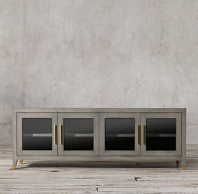Graydon Shagreen Glass 4 Door Media Console (Image 8 of 25)
