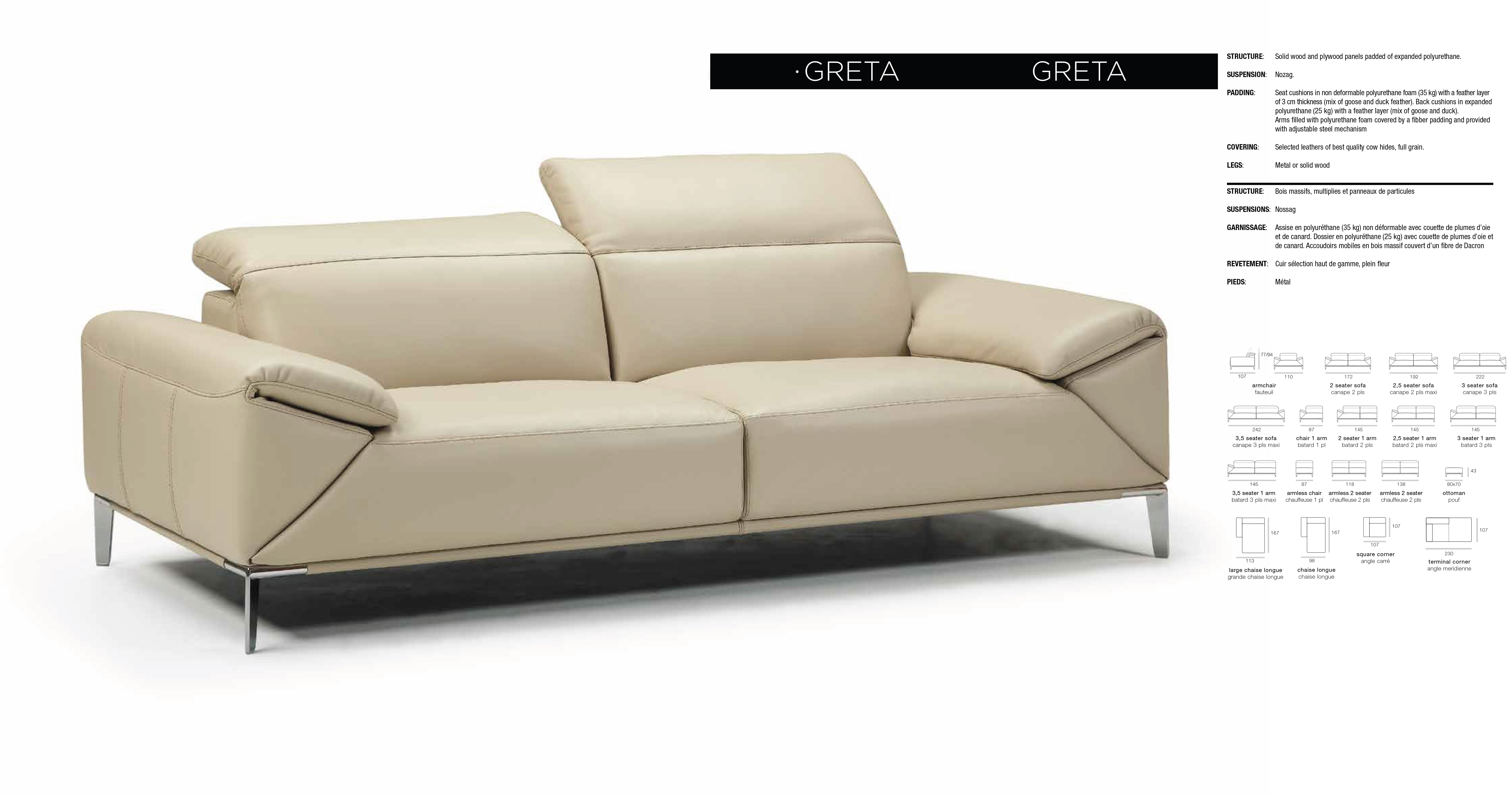 Greta Sofa Set – Bellini Modern Living For Loft Arm Sofa Chairs (Image 9 of 25)