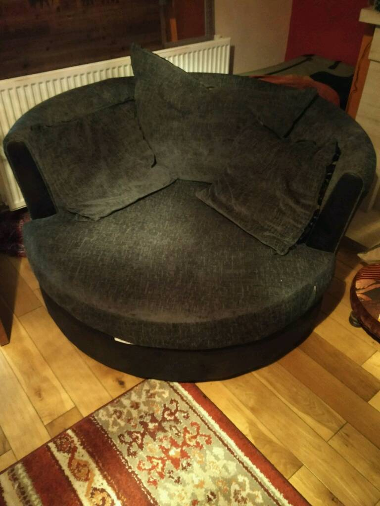 Grey Dfs Swivel Chair Snuggle Sofa | In Plymouth, Devon | Gumtree Intended For Gibson Swivel Cuddler Chairs (Photo 19 of 25)