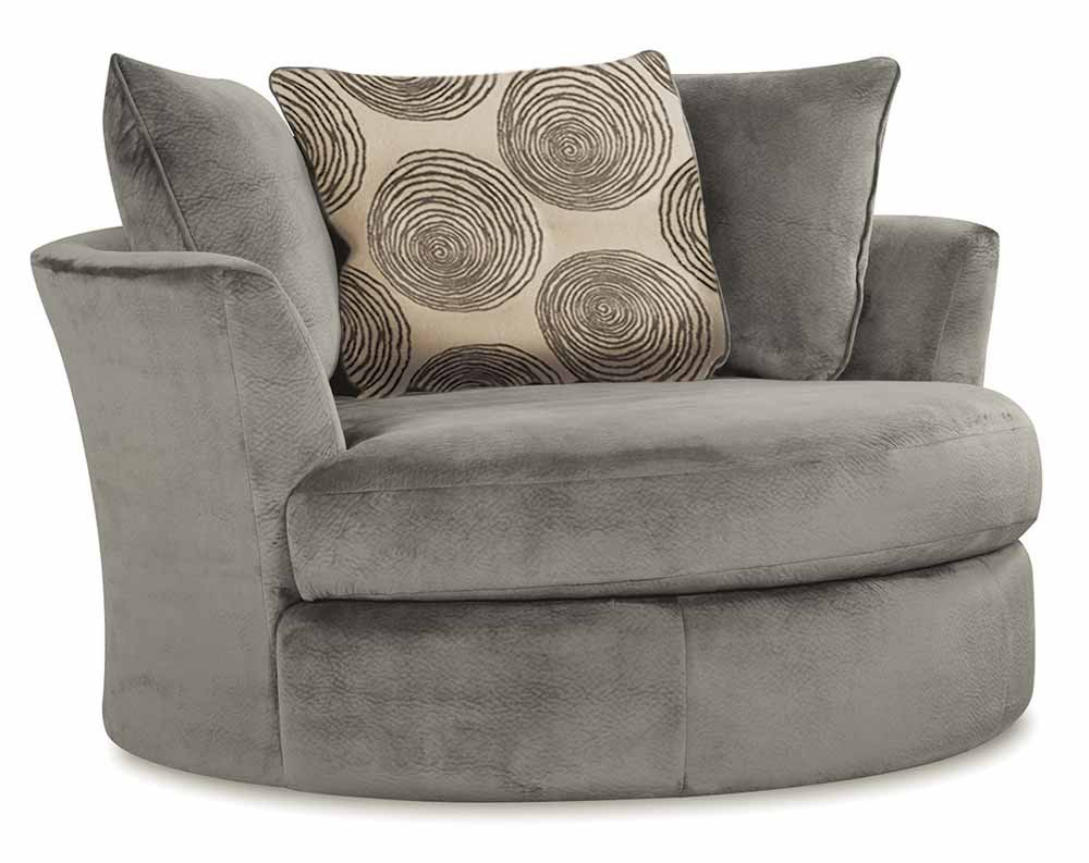 Groovy Smoke Swivel Chair | American Freight Inside Harbor Grey Swivel Accent Chairs (Image 12 of 25)