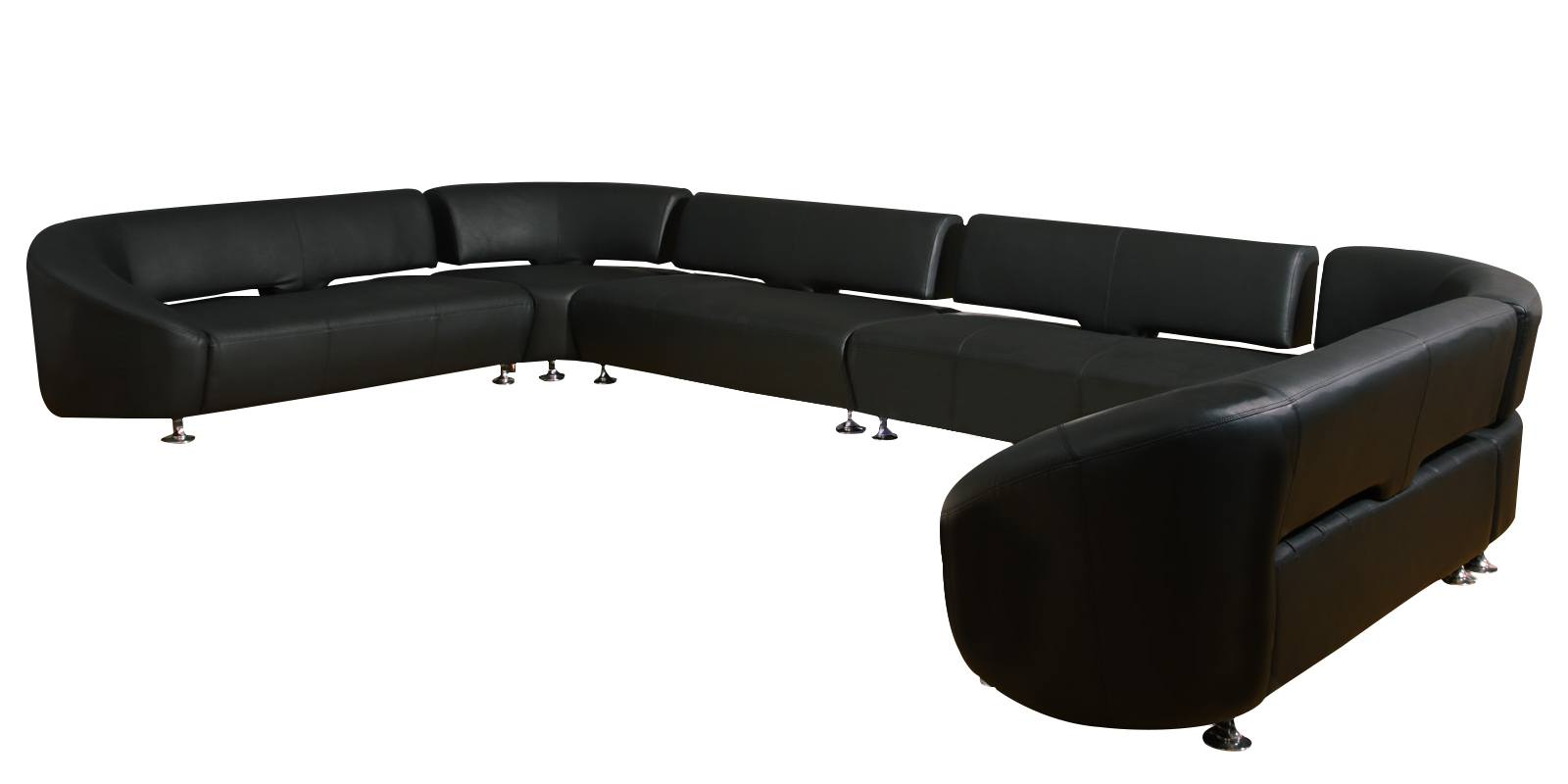 Gwendolyn Luxurious C Shape Sofa In Black Lethearette | Dreamzz pertaining to Gwen Sofa Chairs