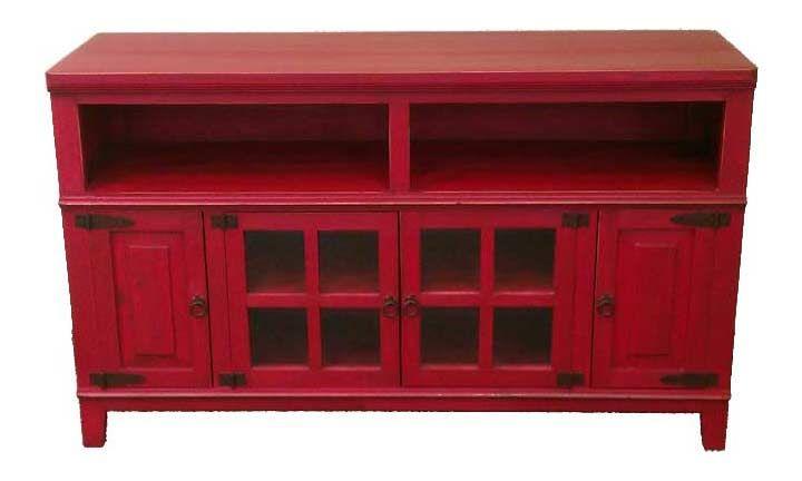 """Hacienda 60"""" Rustic Antique Red Plasmatv Stand"""