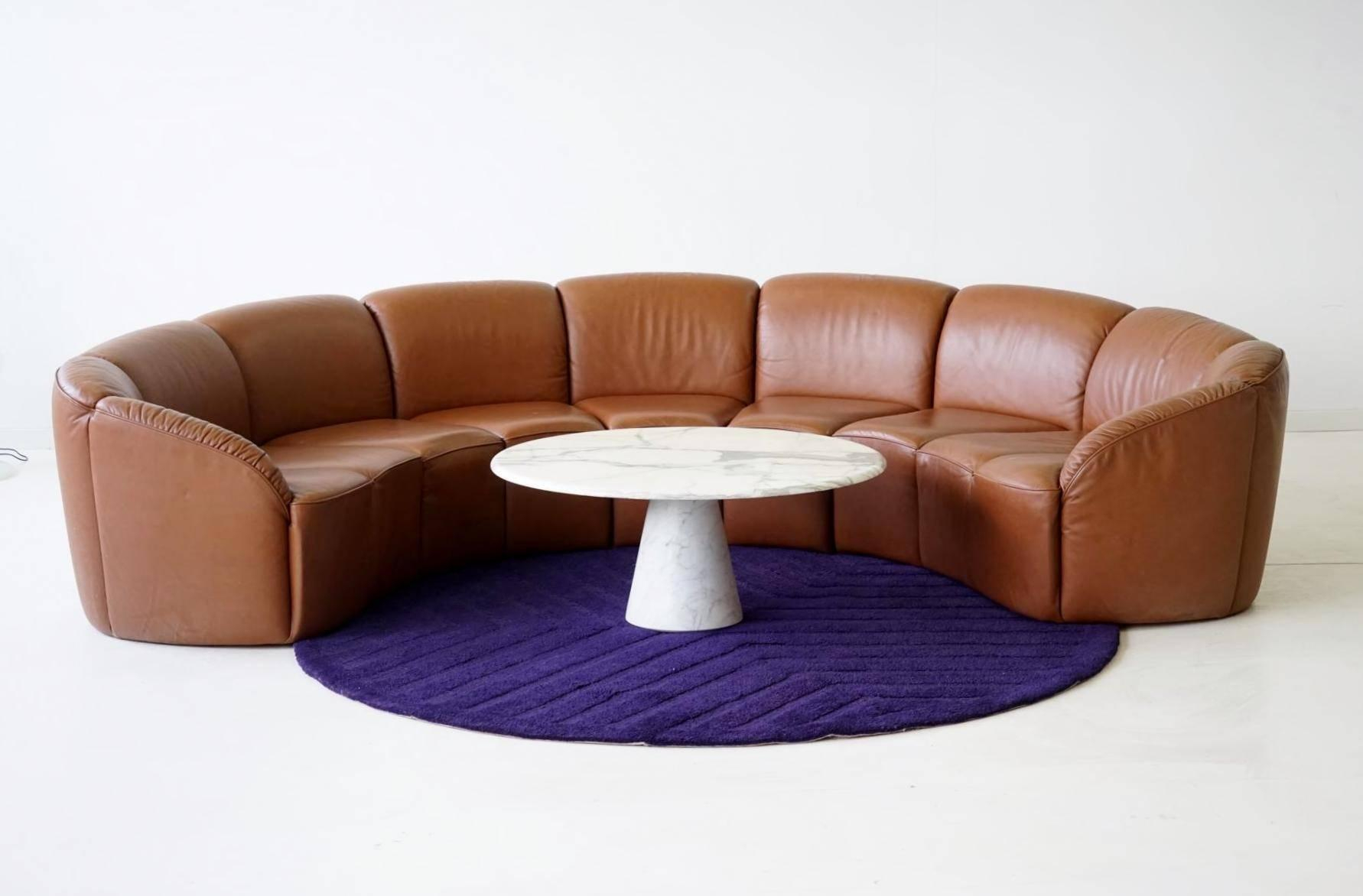 Half Round Leather Lounge Sofawalter Knoll, 1960S At 1Stdibs Throughout Walter Leather Sofa Chairs (View 13 of 25)