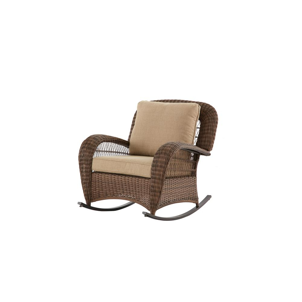 Hampton Bay Beacon Park Wicker Outdoor Rocking Chair With Toffee in Katrina Blue Swivel Glider Chairs