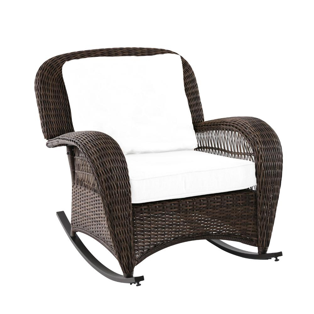 Hampton Bay Beacon Park Wicker Outdoor Rocking Chair With Toffee Pertaining To Katrina Blue Swivel Glider Chairs (Photo 11 of 25)
