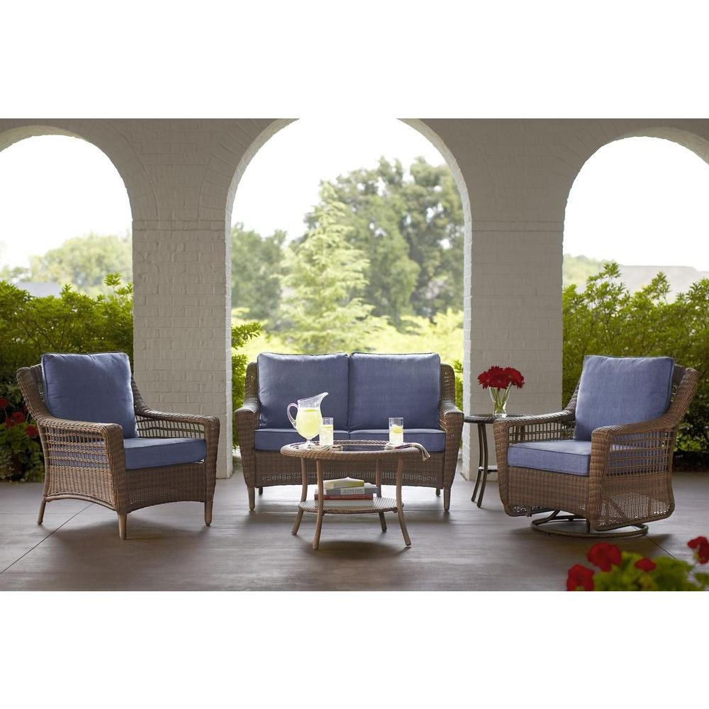 Hampton Bay Spring Haven Brown 5 Piece All Weather Wicker Outdoor With Regard To Haven Sofa Chairs (View 22 of 25)