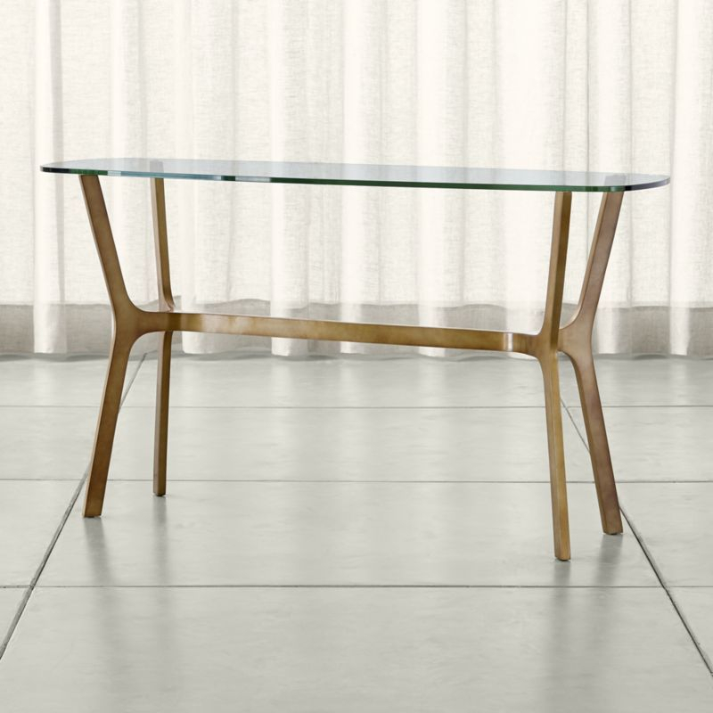 Hand Cast, Console Pertaining To Current Parsons Clear Glass Top & Brass Base 48X16 Console Tables (Image 8 of 25)