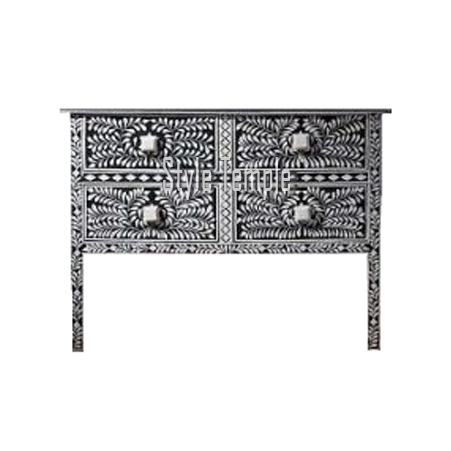 Handcrafted Bone Inlay Console Table - Style Temple for Well-known Black And White Inlay Console Tables