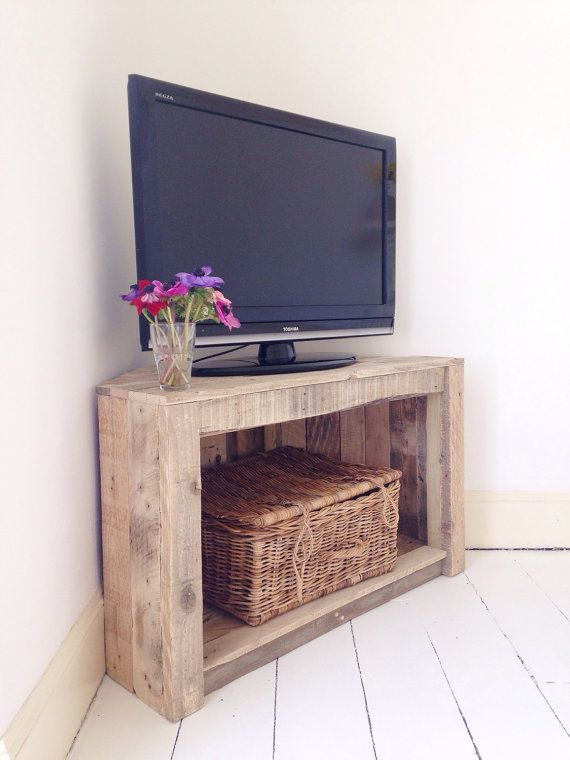 Handmade Rustic Corner Table/tv Stand. Reclaimed And Recycled Wood intended for Popular Tv Stands For Corners